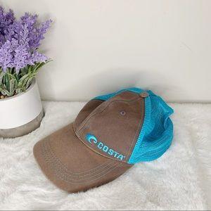 Costa Del Mar Logo Brown & Light Blue Trucker Hat
